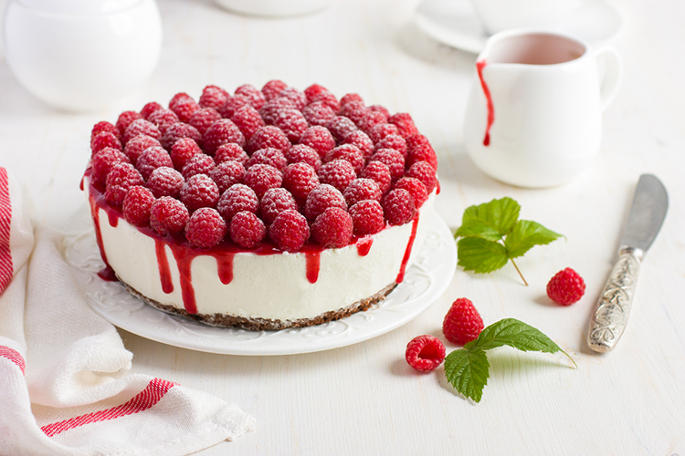 raspberry cream mousse cake (no baked cheesecake) on white background